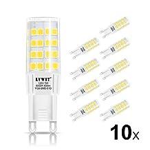LVWIT G9 LED Light Bulbs 5W 6000K Daylight LED Bulb 50W Halogen Equivalent 120V G9 LED Bulbs 400 Lumens Non-dimmable 10 Pack for Home Lighting