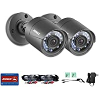 Annke (2) 720p HD-TVI Security Bullet Camera with IP66 Weatherproof Housing, 66ft Super Night Vision and Smart IR