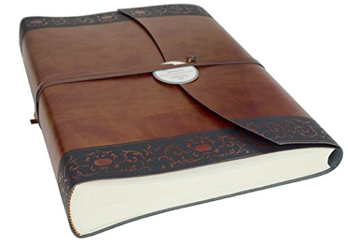 Romano Classico Large Chestnut Handmade Recycled Leather Wrap Photo Album, Classic Style Pages (30cm x 24cm x (Recycled Leather Photo)