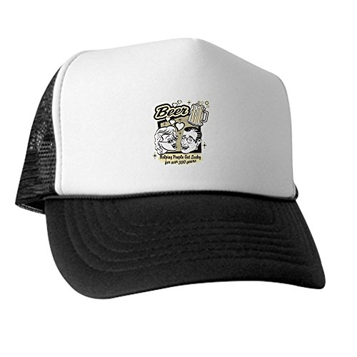 truly-teague-trucker-hat-baseball-cap-beer-helping-people-get-lucky-black-and-white
