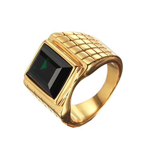 PMTIER Men's Stainless Steel Signet Rings with Rectangle Green Stone Gold Size 12