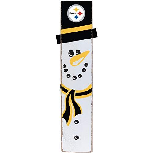 (Rustic Marlin Designs NFL Pittsburgh Steelers Snowman Barn Board Sign, Team Color, 10