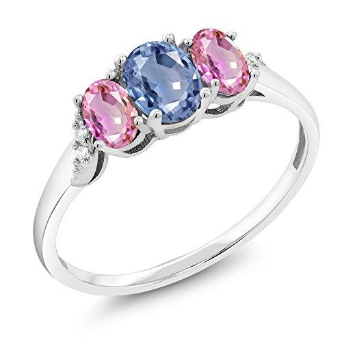 10K White Gold 1.12 Ct Blue Sapphire Pink Sapphire 3-Stone Ring With Accent Diamond (Diamond Pink Stone Set)