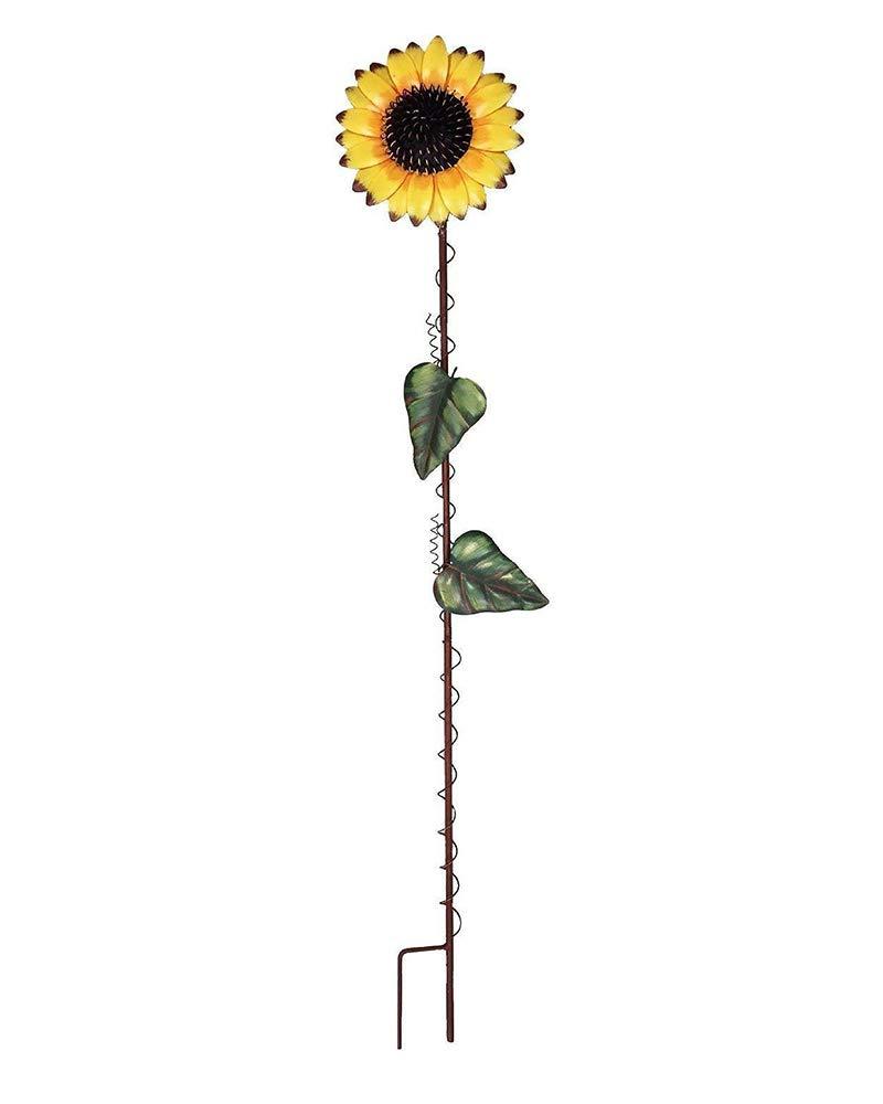 Y&K Decor 39-inch Metal Sunflower Garden Stake Large Flower Yard Stake Decor