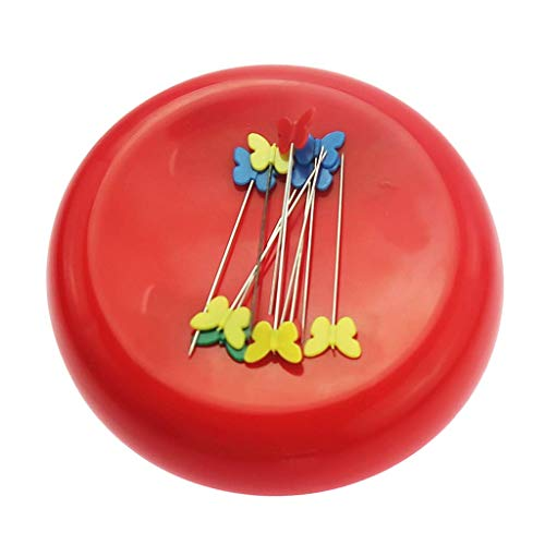 Round Magnetic Pin Cushion Sewing Pin Holder Pin Caddy Storage Case Sewing Tool - Red