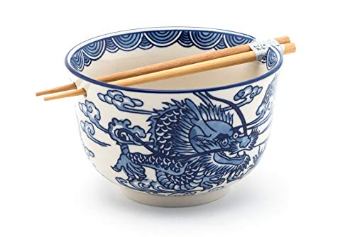 Fuji Merchandise Japanese Ryu Dragon Blue and White Design Quality Ceramic Ramen Udon Noodle Bowl with Chopsticks Gift Set 6.25 Inch -