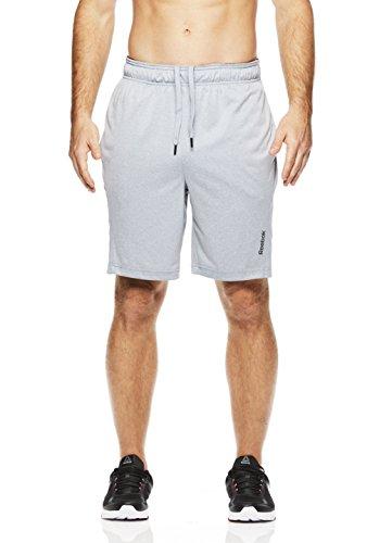 Reebok Men's Drawstring Shorts - Athletic Running & Workout Short - Light Grey Fireball, Small