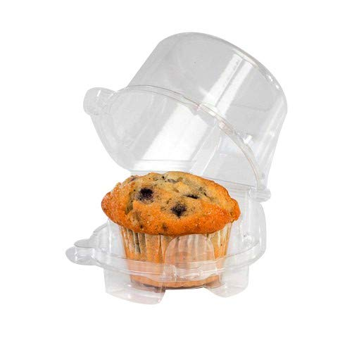 Clear Cupcake Muffin Single Individual Dome Container Box Plastic 25 Pieces- (Single Cupcake Carrier)