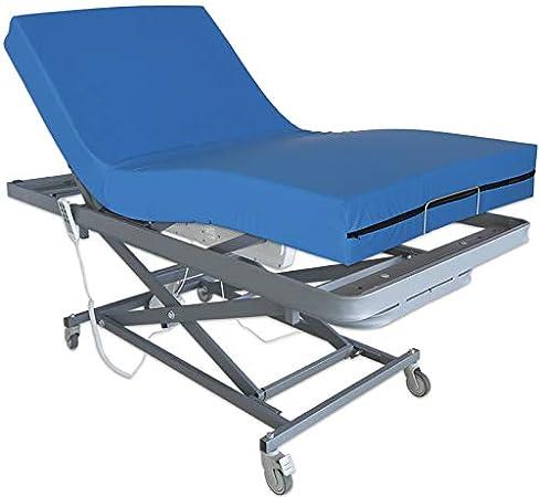 Ventadecolchones - Camas Articuladas Geriátrica de Hospital con Carro Elevador y Colchón Impermeable Viscoelástico 10+5 Medida 105 x 190 cm