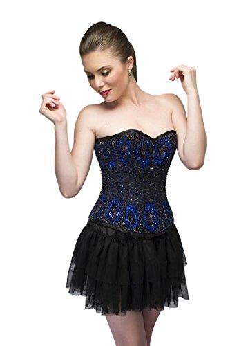 海嶺気球緊急Blue Satin Black Sequins Goth Burlesque Waist Cincher Basque Overbust Corset Top