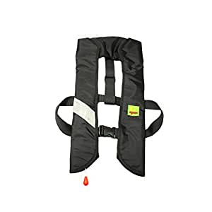 Lifesaving Pro Premium 33G Manual Inflatable PFD Survival Buoyancy Curve Paddle Sports Life Vest - Black