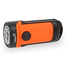 Ivation Waterproof Camping Flashlight LED Rechargeable Hand Crank, High Power Mini Torch Lamp, Bright 3 Light Modes, Waterproof & Dustproof IPX6, Charges via Built in Solar Panel, No need to replace Batteries Use for Emergency, indoor and outdoor, sports and in car
