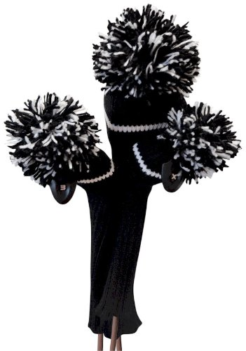Classic Knit Spandex Pom Pom Head Cover Set by JP Lann (Includes: Driver and 2 Fairway Head Cover), Outdoor Stuffs
