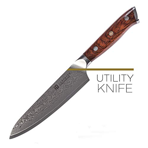 Supinity Kitchen Utility Chef Knife Japanese VG10 Damascus Steel Heavy Duty Carbon Blade for Cutting, Chopping, Paring. Full Tang Food Chopper with Slip Resistant Rosewood Handle 5-Inch Long Blade