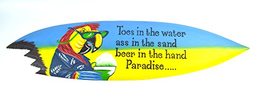 Bar Sign 39 Inch Island Decor - Parrot Head Toes in the Water As in the Sand Surfboard with Shark Bite Bar Sign