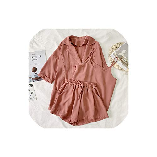 (Camisole + Suit Loose Coat + High Waist Shorts Three-Pieces Set Twinset,Pink Colour,One Size)