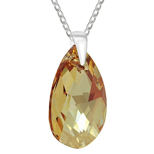 Sterling Silver 925 Made with Swarovski Crystals Golden Shadow Teardrop Pendant Necklace for Women, (Sterling Silver Teardrop Champagne)