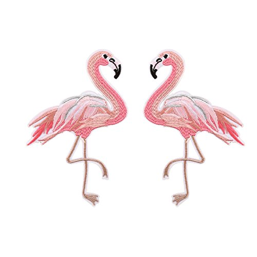 XUNHUI Red Flamingo Applique Embroidery Patches for Clothing Clothes Parches Sticker 1 Pair