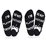 ATIMIGO 'Do Not Disturb' I'm Playing Fortnite' Funny Ankle Socks for Men Kids Boys- Great Gamer Gift For Fornite Lovers (2 pair black)