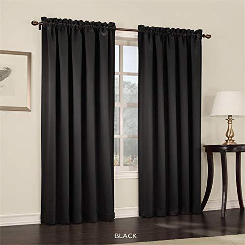 Sun Zero Efficient Rod Pocket Curtain Black