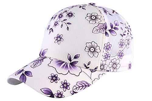 ZLYC Womens Floral Print Baseball Cap Adjustable Trucker Baseball Cap (Flower Purple)
