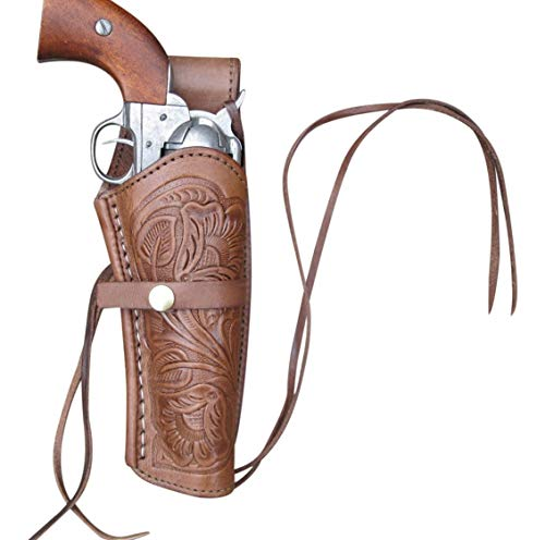 Western Express Leather Gun Holster for .38 caliber and .357 caliber revolvers(Right Handed) Hand Tooled Brown