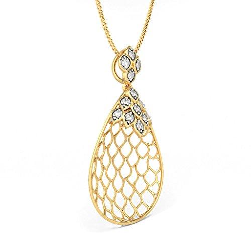 Or jaune 18K 0,2CT TW Round-cut-diamond (IJ | SI) Pendentif