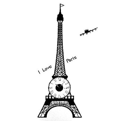 eDealMax PVC Torre Eiffel de impresión de la familia dormitorio DIY Reloj Resistente etiqueta de la