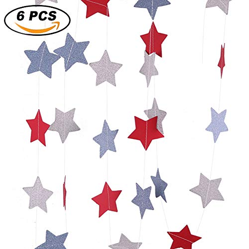 - 6 Pack 40ft Feet Star Paper Garland Bunting Banner Hanging Decoration for Wedding,Holiday Party, Birthday. (Red/Blue/Silver)