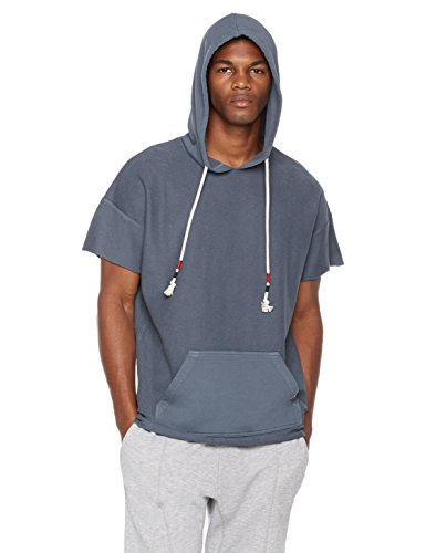 Rebel Canyon Young Men's Reverse French Terry Short Sleeve High Low Pullover Hoodie with Raw Hem