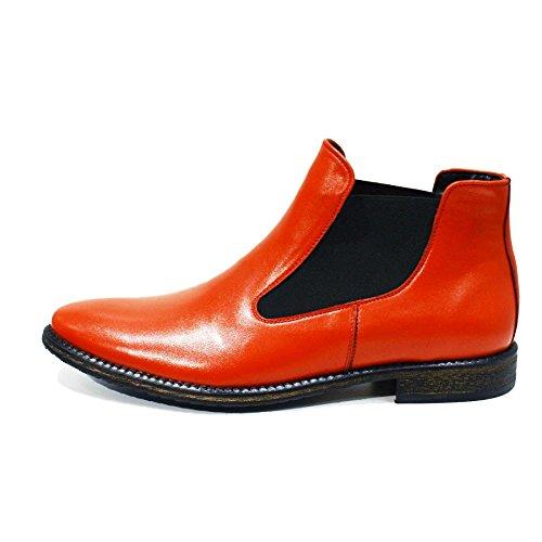PeppeShoes Modello Cervia - Handmade Italiano da Uomo in Pelle Rosso Stivali di Chelsea - Vacchetta Pelle Morbido - Scivolare su