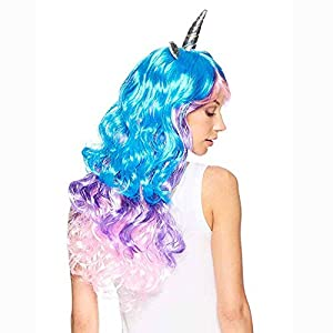 Evursua Pony Cosplay Wig with Unicorn Horn Ear Long Curly Hair for Women Halloween Party Supplies