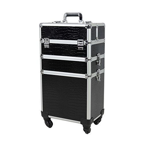 Topwigy Rolling Makeup Case 4 Universal Wheels 3 in 1 Professional Multifunction Artist Wheeled Trolley Makeup Beauty Train Box Cosmetic Organizer Box (Black crocodile grain) by Topwigy