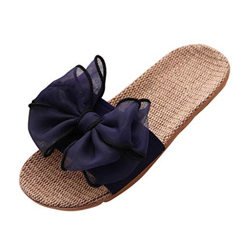Womens Sandals, Women Female Bohemia Bowknot Flax Linen Flip Flops Beach Shoes Sandals Slippers Plus Size