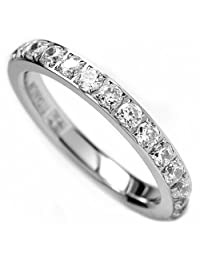 Metal Masters Co.® 3MM Ladies Titanium Eternity Engagement Band, Wedding Ring with Pave Set Cubic Zirconia Size 4 to 9