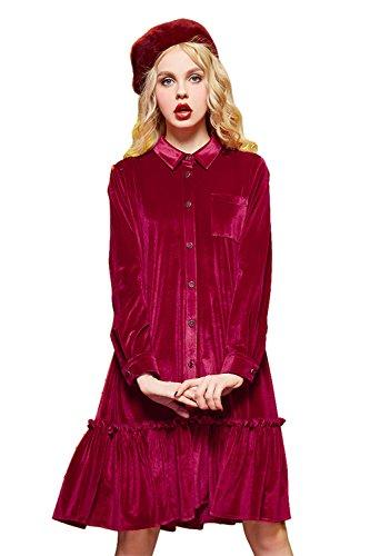Elf Sack Womens Summer Velvet Long Button Up Polo Shirt Dress Red (Red Coats Sack)