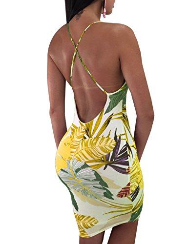 Mini Print Floral Bodycon CXINS Leaf Summer Strap Backless Dress Yellow Spaghetti Dresses Sexy Womens nnPqBfzxg