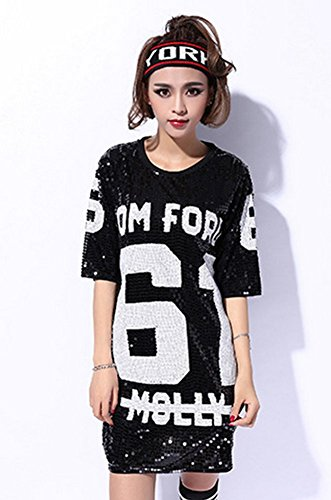Dress Hip Hop (Womens Fashion Sequins Evil Eye Sparkle Glitter Hip Hop Shirt Tank Top Loose Dancing Tees, Black, One Size)