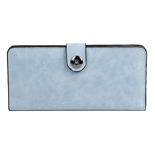 Damara Womens Simple Suede Magnet Thin Wallet,Light Blue