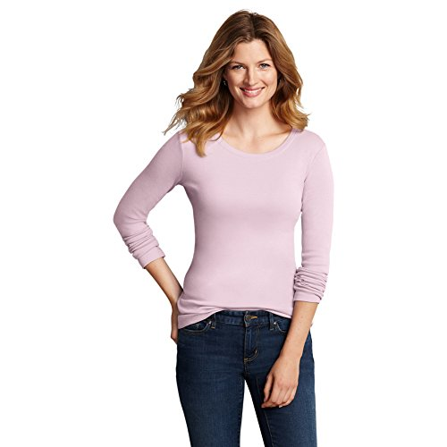 Eddie Bauer Womens Favorite Long-Sleeve Crewneck T-Shirt, Cameo Pink L Regular