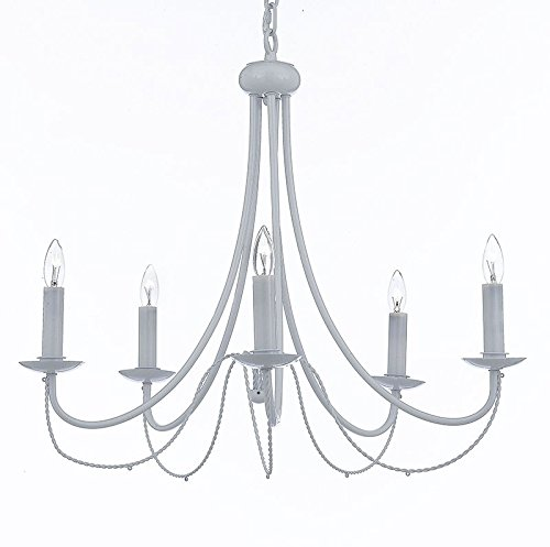 Wrought Iron Chandelier Lighting Country French White , 5 Lights , , Ceiling Fixture Light