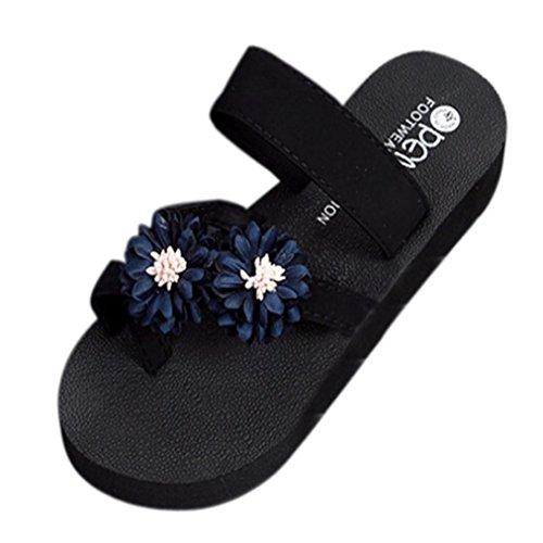 Pantofola Da Passeggio Per Le Donne, Scarpe Da Spiaggia Estate Scarpe Da Bagno Piattaforma Esterna Coperta Cuneo Infradito Scarpe Blu