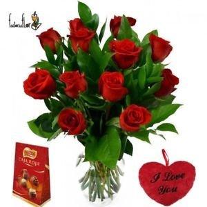FactoriaFlor 12 Rosas Rojas Naturales Frescas + Mini CORAZÓN Peluche + Caja ROJA DE NESTÉ 100 GR. Entrega 24H O DÍA A ELECCIÓN seleccionando envío urgente a ...