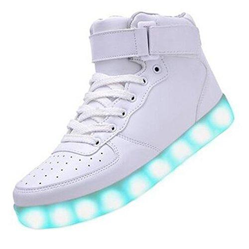 (Present:kleines Handtuch)JUNGLEST® High-Top mit Velcro 7 Farbe LED Leuchtend Sport Schuhe Glow Sneakers USB Aufladen Turnschuhe für Unisex Herren Da Weiß