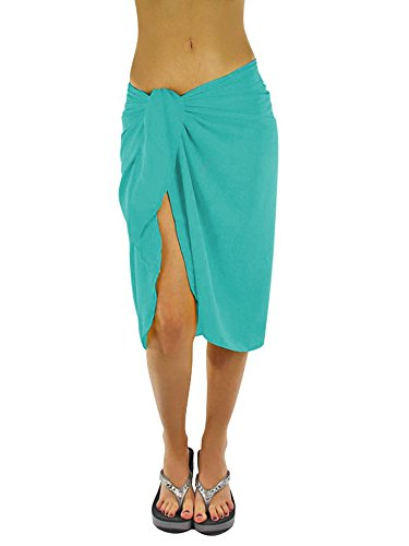 Luxury Divas Sheer Turquoise Blue Knee Length Cover Up Sarong Wrap for - Diva Tie