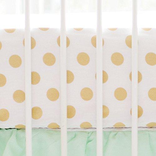 My Baby Sam Polka Dot Crib Sheet, Gold -