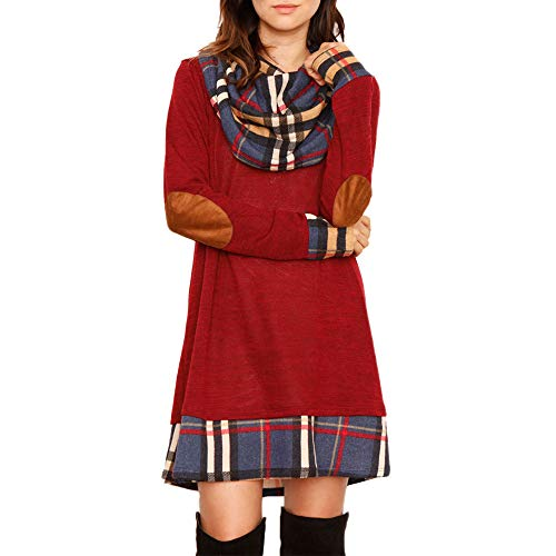 Alaster Queen Womens Cowl Neck Long Sleeve Plaid Elbow Patch Casual Sweater Mini Tunic Dress for Women