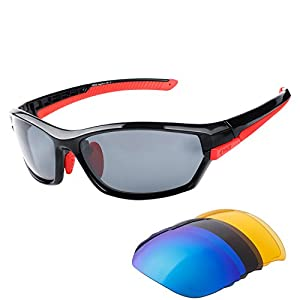 Duco Polarised Sports Mens Sunglasses for Ski Driving Golf Running Cycling Tr90 Superlight Frame With 3 Interchangeable Lenses 6216