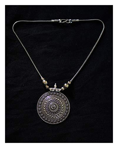 Jewel India Handmade Vintage Tribal African Indian Turkish Kutchi German Silver Oxidized Fashion Statement Gypsy Necklace Pendant -