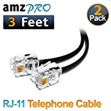 (2 Pack) 3 Feet Black Short Telephone Cable Rj11